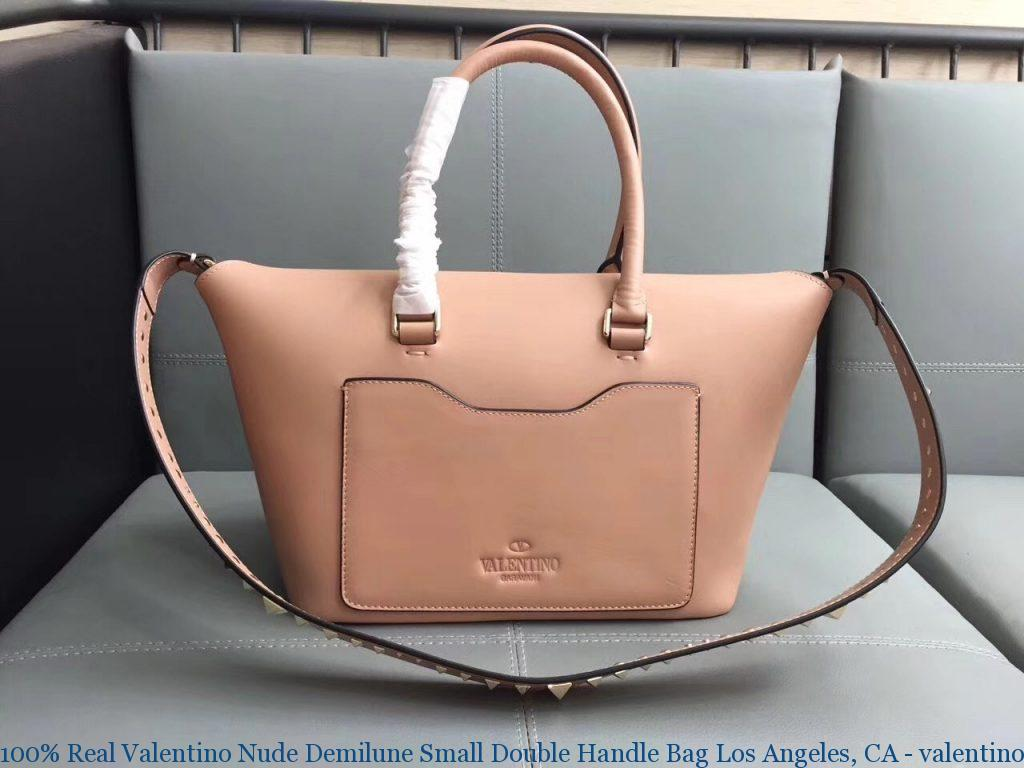 100% Real Valentino Nude Demilune Small Double Handle Bag
