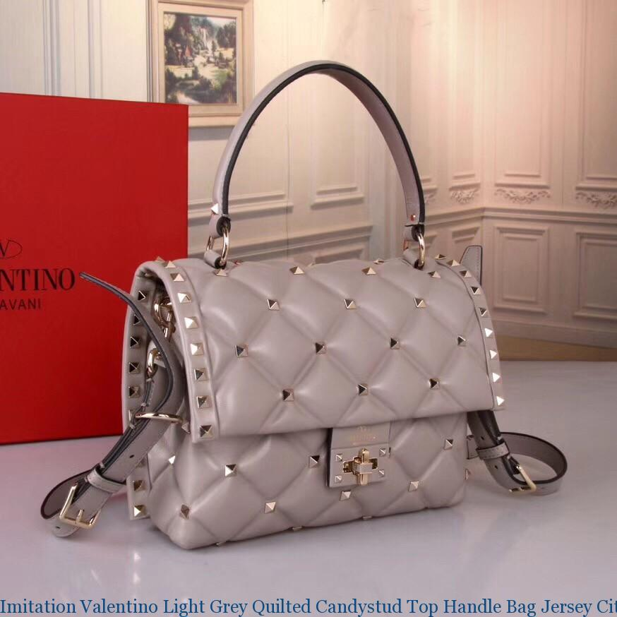 Imitation Valentino Light Grey Quilted Candystud Top Handle Bag Jersey City Nj With Erfly 2495