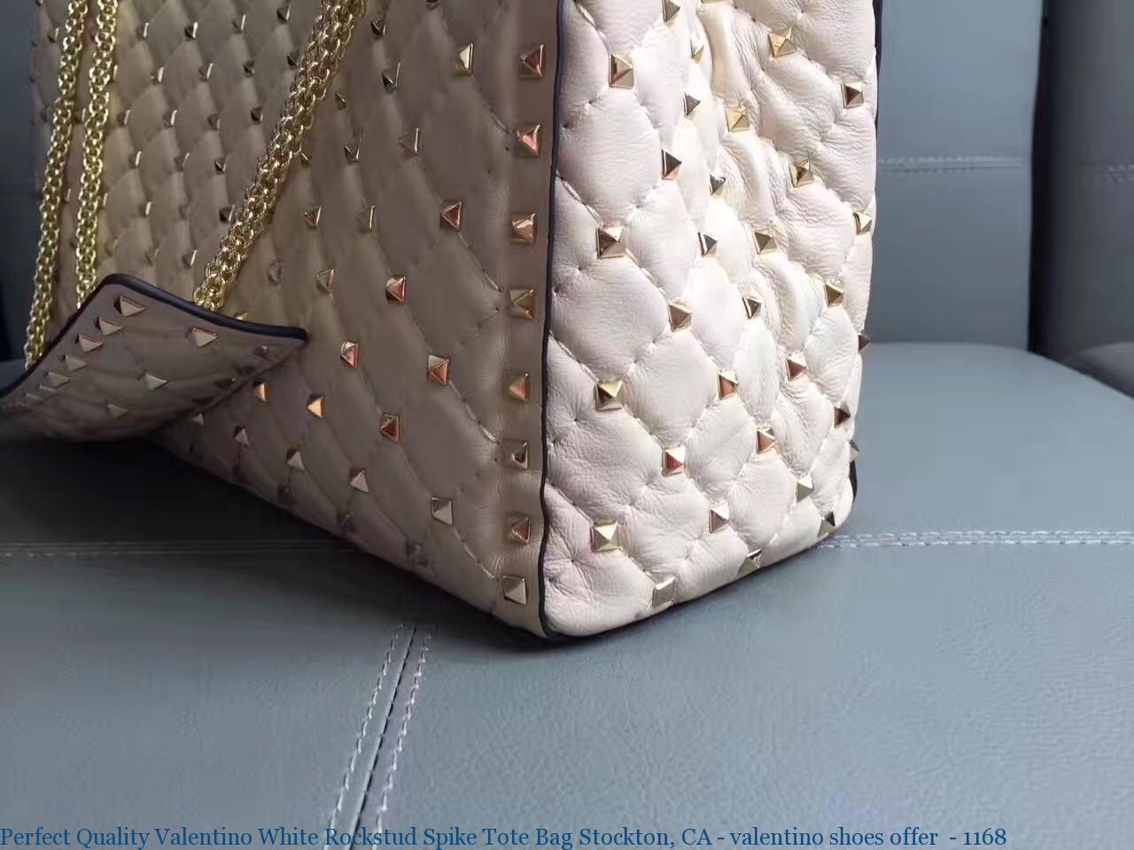 Perfect Quality Valentino White Rockstud Spike Tote Bag